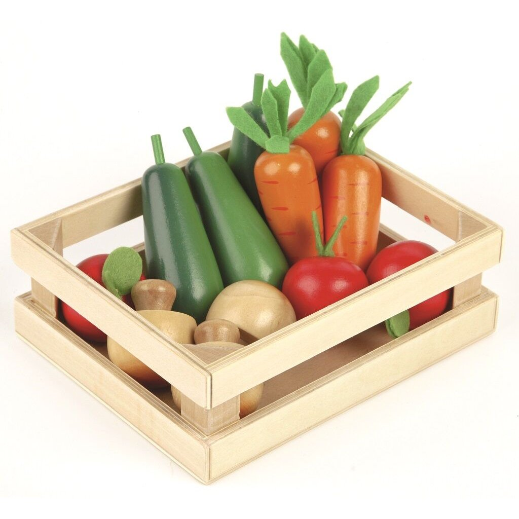 T0134 Tidlo Drevená bednička so zeleninou zelenina v bedničke