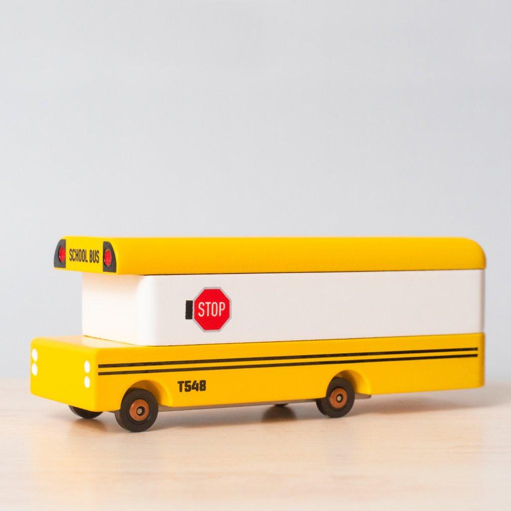 Drevene auticko Candycar school bus skolsky autobus
