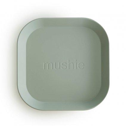 Mushie hranaty tanier 2ks sage