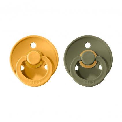 BIBS Colour cumlíky z prírodného kaučuku 2 ks Honey Bee Olive