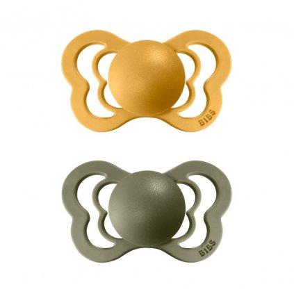 BIBS Couture ortodontický cumlík z prírodného kaučuku 2 ks Honey Bee Olive