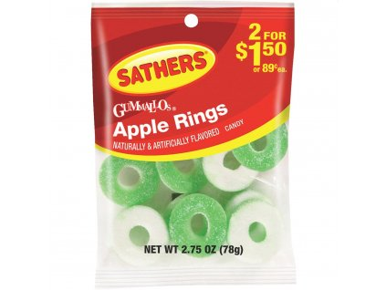 Sathers Sour Apple Rings 78g
