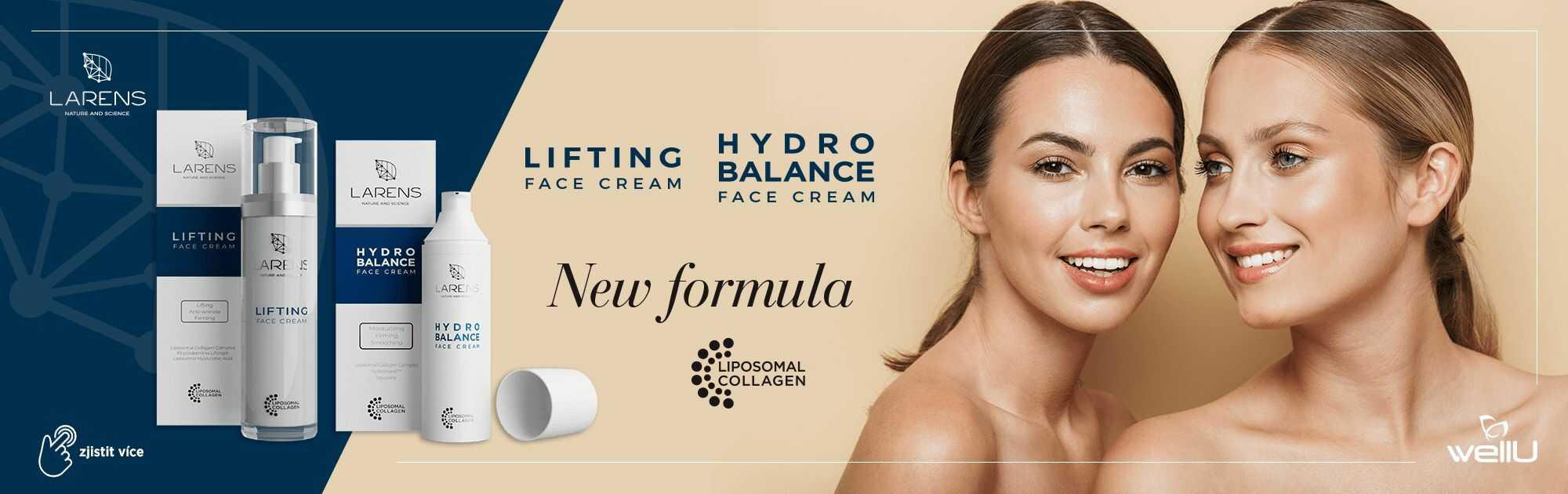 Nová revoluční složka v oblíbených krémech. New Formula Liposomal Collagen Complex.
