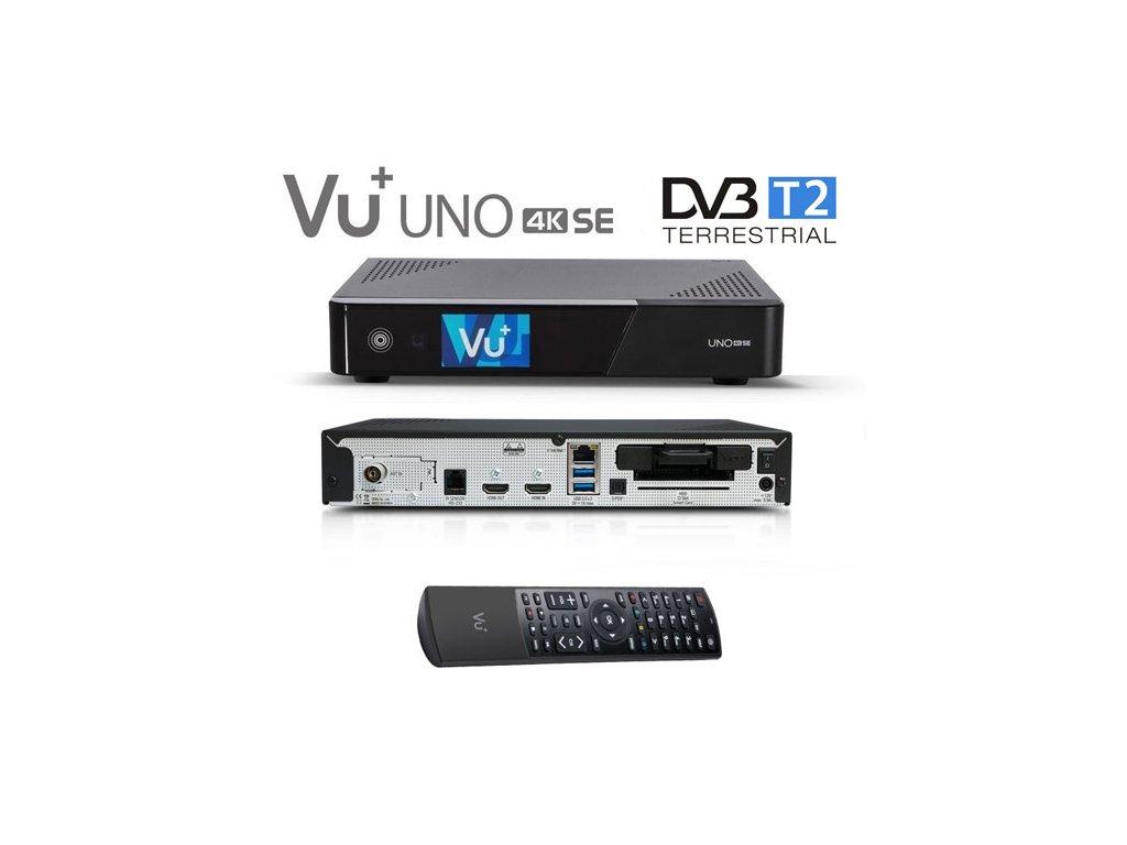 Vu+ UNO 4K SE (1x pozemní dual DVB-T2 MTSIF)  + Konfigurace linuxového přijímače ZDARMA !