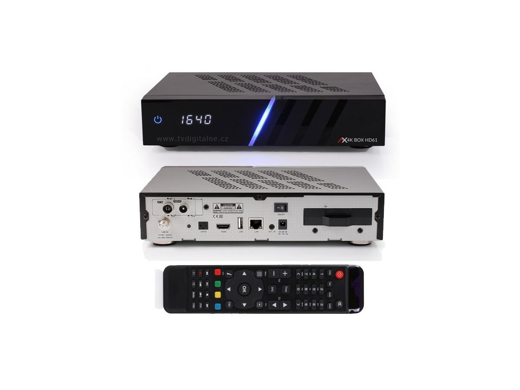 Opticum AX 4K UHD HD61 (1xDVB-S2X + 1xDVB-T2/C)  + Konfigurace linuxového přijímače ZDARMA !