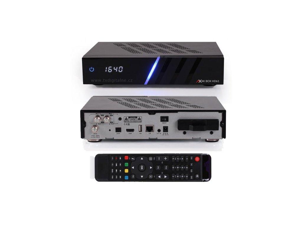 Opticum AX 4K UHD HD61 (2xDVB-S2X)  + Konfigurace linuxového přijímače ZDARMA !