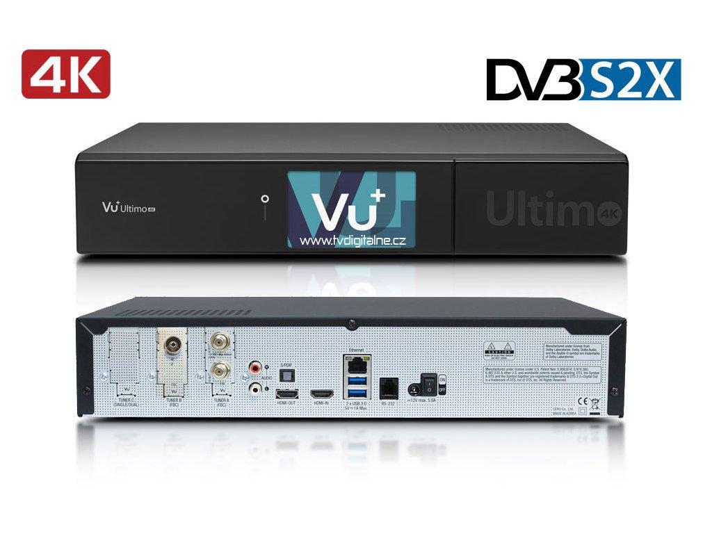 Vu+ ULTIMO 4K (1x dual DVB-S2X FBC + 1x dual DVB-T2 MTSIF)  + Konfigurace linuxového přijímače ZDARMA !