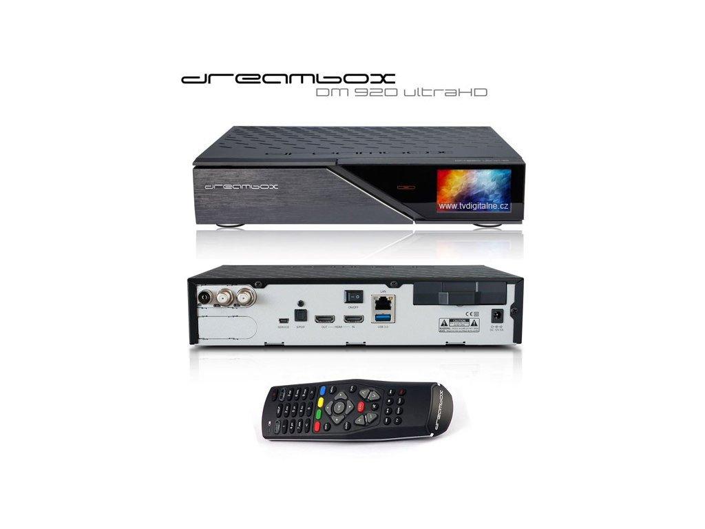 Dreambox DM 920 UHD (1x Triple MIS) - rozbalený kus  + Konfigurace linuxového přijímače ZDARMA !