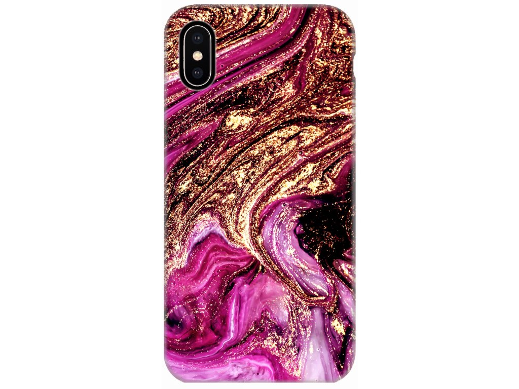 Mramorovy kryt na iPhone X Pink Gold