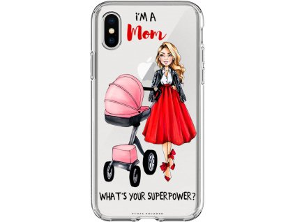 Pouzdro na iPhone X Im mom pink blond