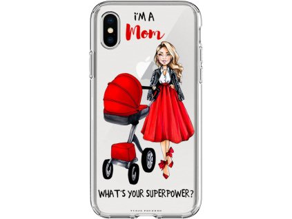 Pouzdro na iPhone X Im mom red blond