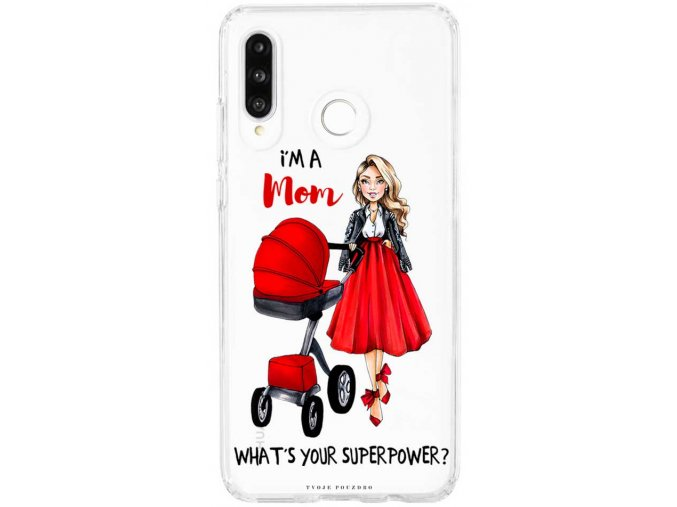 Pruzny kryt na Huawei P30 lite moms power red blond