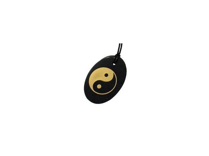 Přívěšek jin-jang ovál ze šungitu