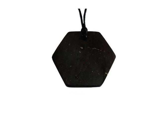 Přívěšek šestiúhelník ze šungitu