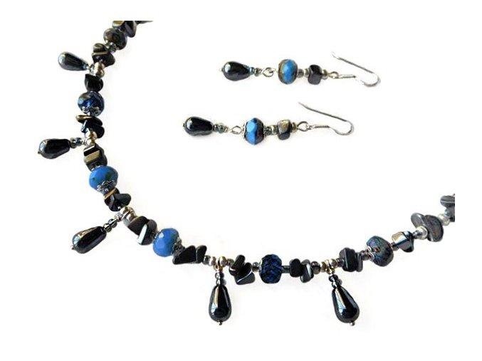 Set - náhrdelník a náušnice s hematitem. AM kolekce