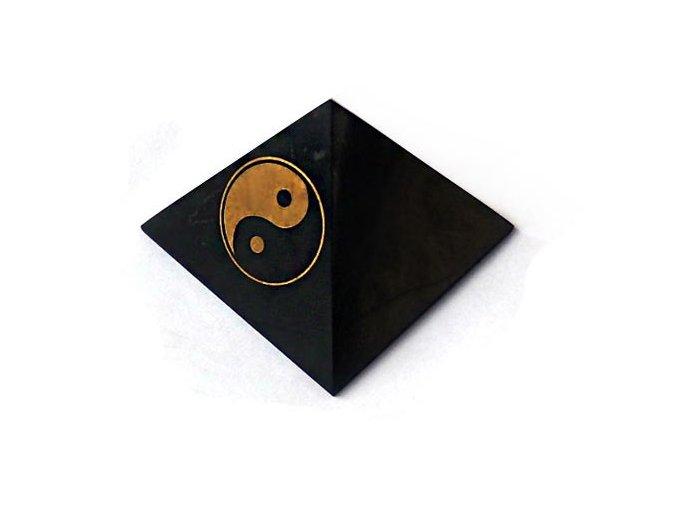 Pyramida ze šungitu jin-jang 5 cm
