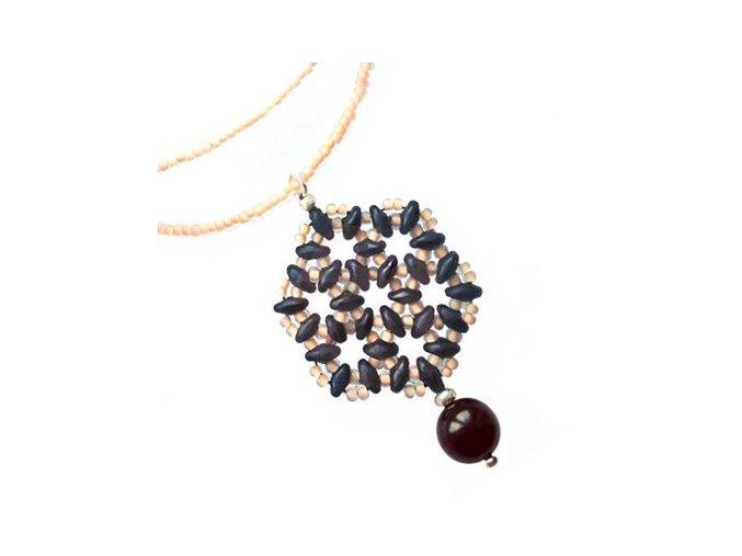 Náhrdelník šungitový Květ života, černé barvy. AM kolekce