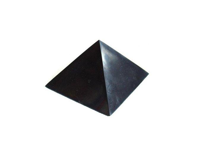 Pyramida ze šungitu 10 cm Leštěná
