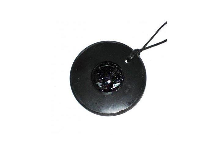 Přívěšek kroužek ze šungitu s černým avanturínem