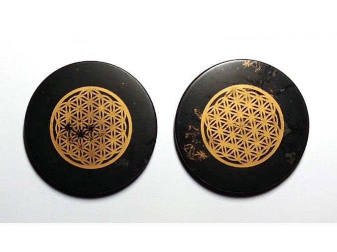 Magnet - šungitová destička s Květem života