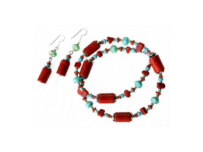 Set - náhrdelník a náušnice korál a tyrkenit. AM kolekce