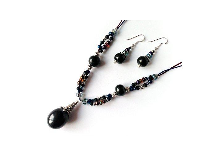 Set - náušnice a náhrdelník s velkým šungitem. AM kolekce