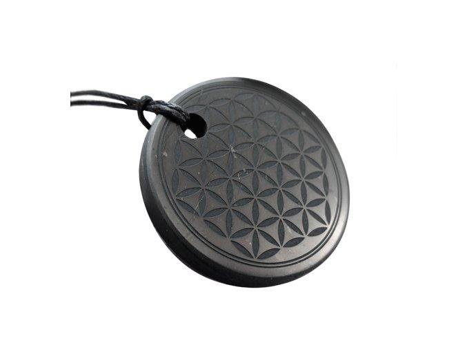 Přívěšek kroužek ze šungitu s květem života