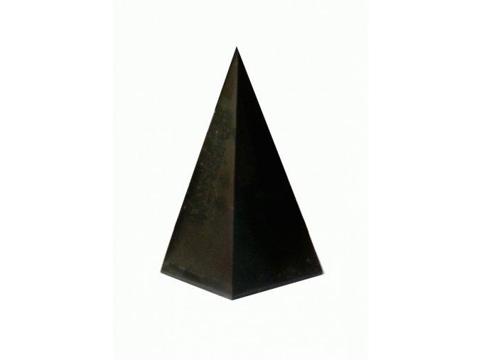 Pyramida šungitová 4 cm Leštěná Vysoká