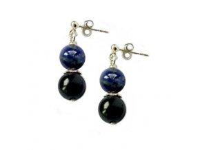 """Náušnice """"NEPTUN"""" - šungit a lapis lazuli na puzetě - AM kolekce"""