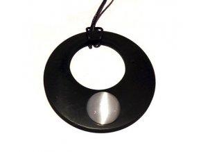 Přívěšek donut ze šungitu s kočíčím okem