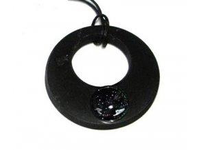 Přívěšek donut ze šungitu s černým avanturínem
