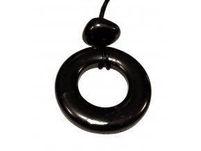 Přívěšek šungitové kolečko s kamínkem