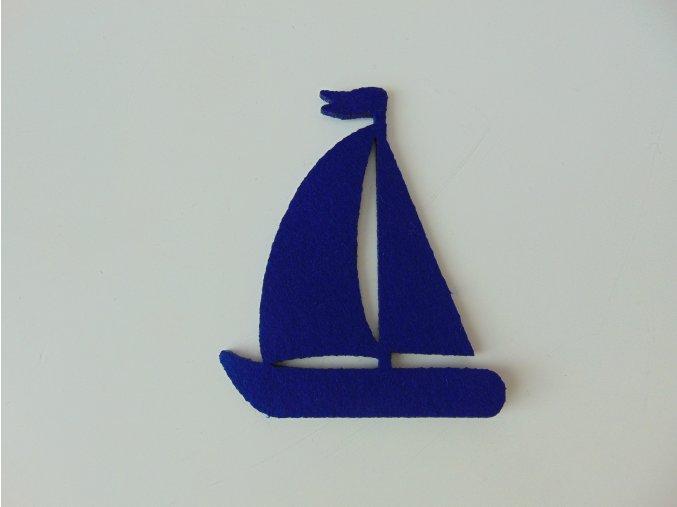 Výsek z filcu plachetnice modrá