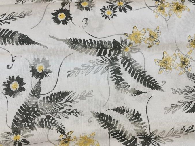 Plátno Šedo-žluté květy na bílé