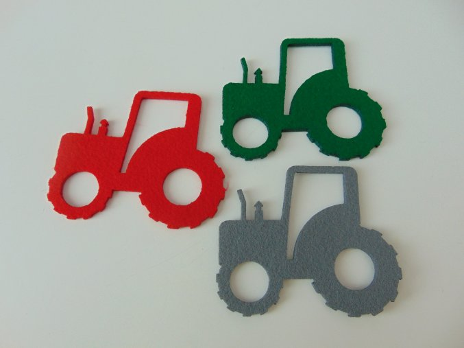 Výsek z filcu traktor červený
