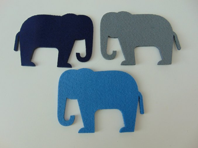 Výsek z filcu slon tm. modrý