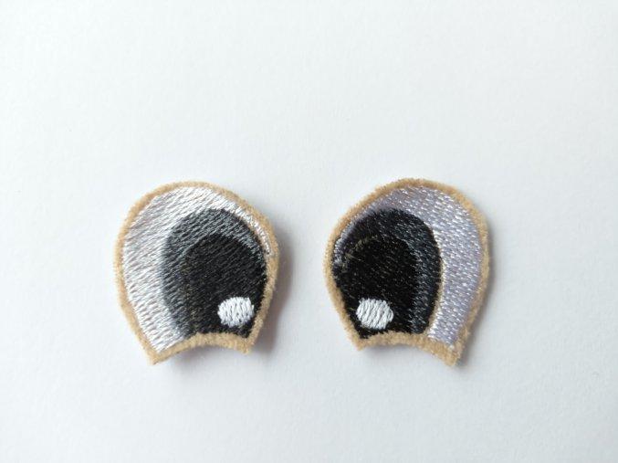 Vyšívané oči tvarované 3 cm šedé #2