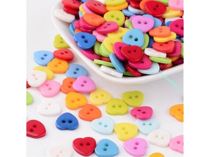 Knoflíky malé barevné srdce