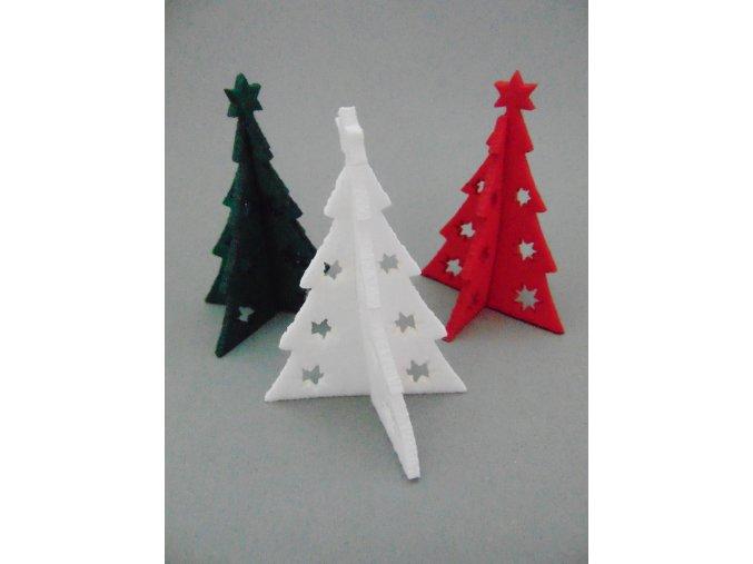Výsek z filcu 3D stromek bílý