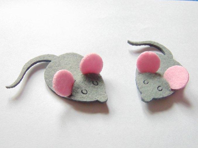 Výsek z filcu myška s ušima