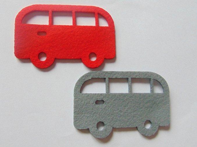 Výsek z filcu autobus červený