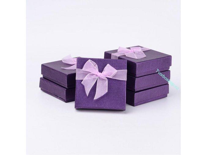 Dárková krabička fialová s mašlí