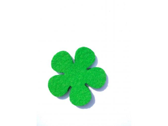 Výsek z filcu kytička 4cm stř.zelená