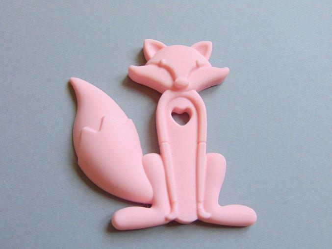 Silikonová liška sv. růžová