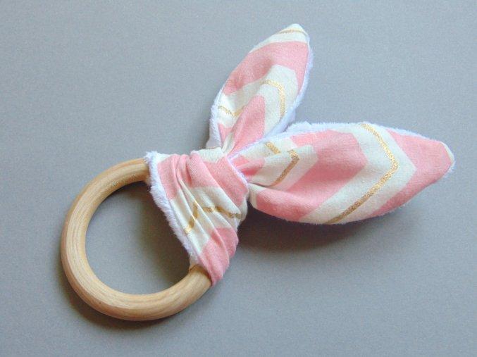 Uši růžovo-bílé se zlatým proužkem