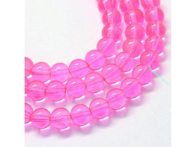 Skleněné korálky 6mm jasně růžové