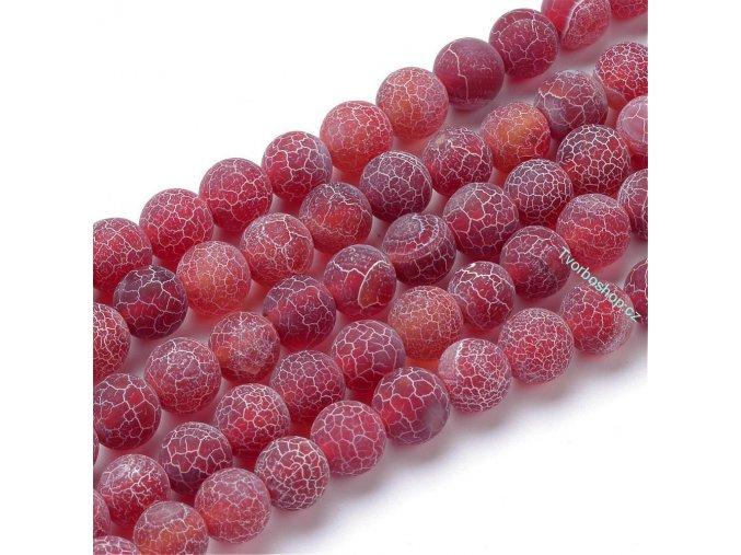 Achát tmavě červený frosted 6 mm