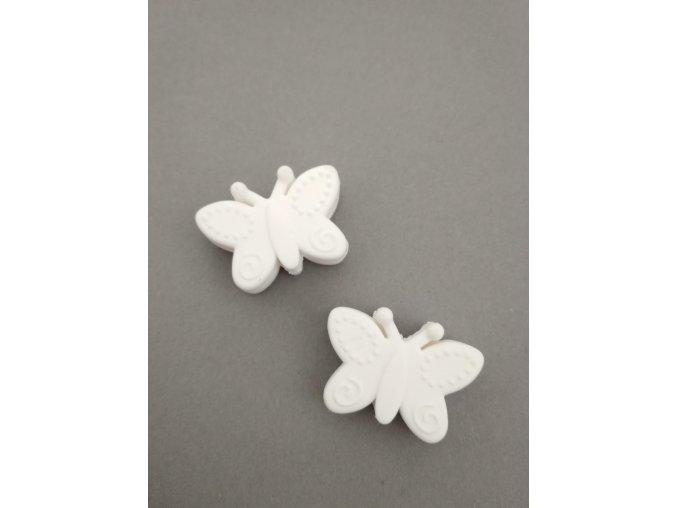 Silikonový korálek motýlek bílý