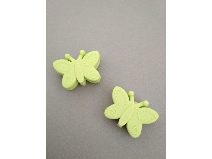 Silikonový korálek motýlek zelený