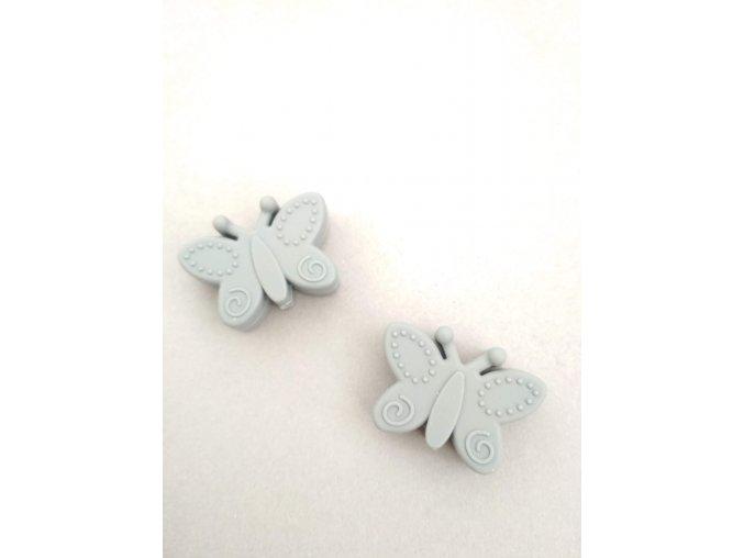 Silikonový korálek motýlek šedý